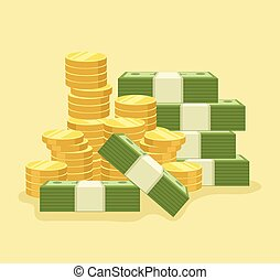 Lot of money. Vector flat cartoon icon illustration