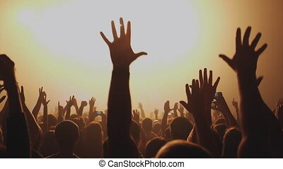 Here is footage of people crowd partying at a concert or a night club. You can see dark silhouettes dancing, jumping and waving hands in front of stage. Club space is full of blinking lights and colors. This shot full of good emotions and positive energy. Best moments from live music concert with ...