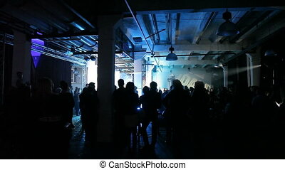 Here is footage of people crowd partying at a concert or a night club. You can see dark silhouettes dancing, jumping and waving hands in front of stage.