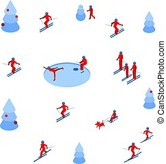Lot of people skiing and skating on white background