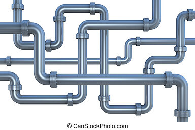 lot of pipes - many pipes intersecting each other (3d render...