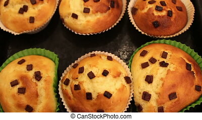 Lot of scroched muffins - Scroched and curves muffins in a...