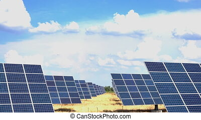 lot of solar panels standing at the field - solar panels...