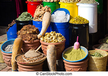 Lot of spices on the market in Morocco