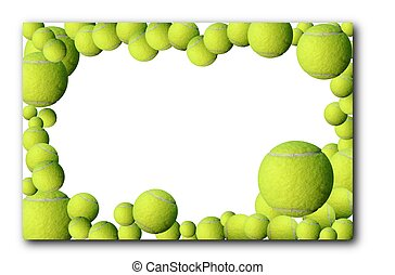Lot of tennis balls and one heart frame on white background with place for your text or design