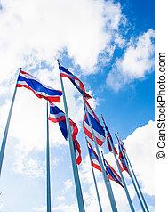 lot of Thailand Flag on blue sky