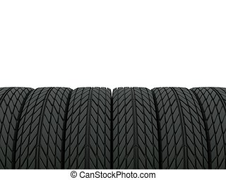 Lot of tires isolated on white