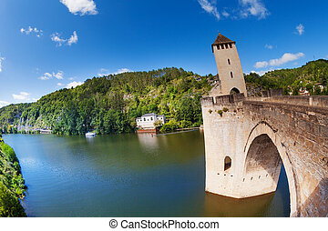 Lot river and Valentre bridge in Cahor France