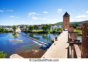 Lot river from Valentre bridge in Cahor, France