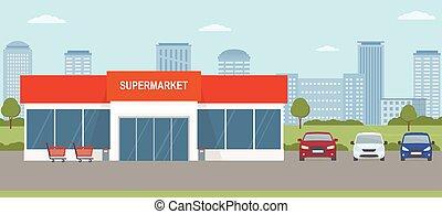 lot., urbano, supermercado, paisaje., edificio, ...