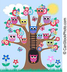 lote, de, corujas, em, um, árvore