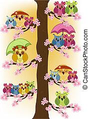 lote, de, corujas, sentando, em, um, árvore