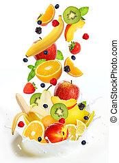 lote, de, diferente, frutas, queda, em, leite