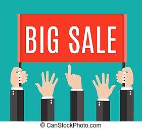 lote, de, mãos, ter, um, painél publicitário, com, grande, venda, note.