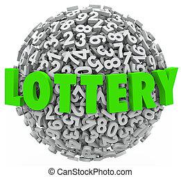 lotería, palabra, número, pelota, esfera, juego, bote