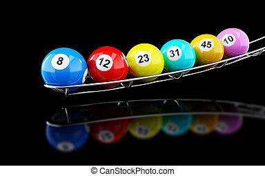 lotería, pelotas, en, en, un, fondo negro