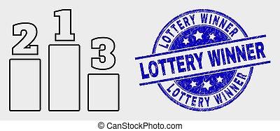 loteria, angústia, lugares, selo, vencedor, apoplexia, vetorial, ícone, prêmio