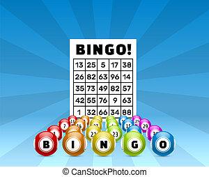 loteria, bingo, jogo, bolas, com, números, e
