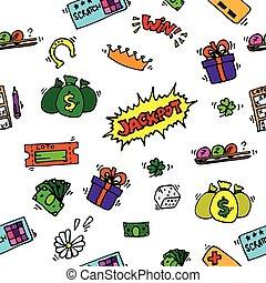 loteria, jogo, padrão, com, bolas, e, cartões.