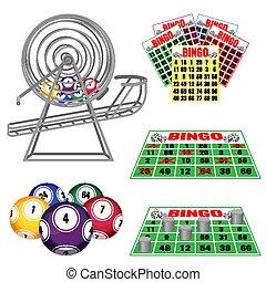 loteria, máquina, com, bolas, dentro, cartões bingo, e, bolas, bilhetes