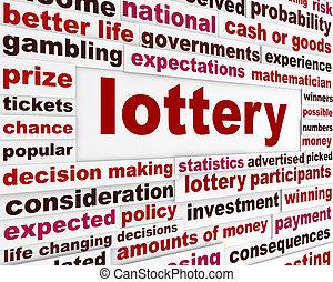 loteria, nuvens, palavra, mensagem
