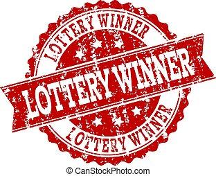 loteria, watermark, selo, vencedor, selo, grunge, vermelho