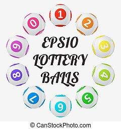 loterij, ongeveer, text., illustratie, vector, gesorteerde, balls.