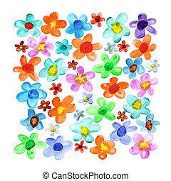 lotes, aquarela, flores
