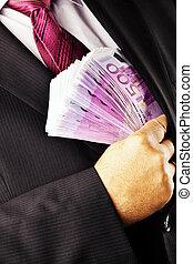 lotes, billetes de banco, director, 500, euro