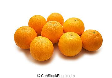 lotes, blanco, aislado, naranjas
