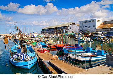lotes, de, barcos, en, pintoresco, puerto, de, tel aviv
