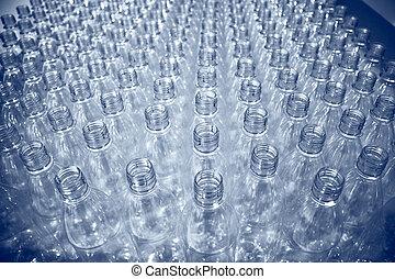 lotes, de, frascos plásticos