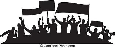 lotes, de, furioso, gente, protestar