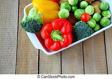 lotes, de, legumes frescos, em, a, prato