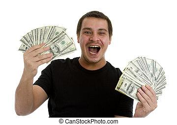 lotes, dinero, feliz, hombre