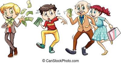 lotes, dinheiro, pessoas