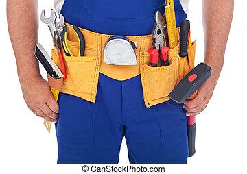 lotes, ferramentas, homem à mão