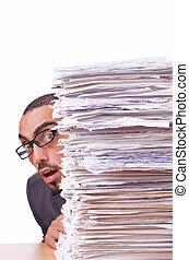 Lotes, hombre de negocios, ocupado, papeles