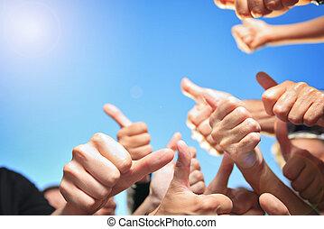lotes, mãos, polegar cima