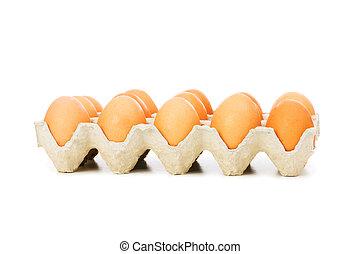 lotes, ovos, caixa papelão, isolado, branca