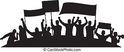 lotes, protestar, furioso, pessoas
