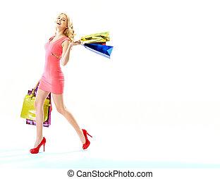 lotes, sacolas, shopping mulher, encantado