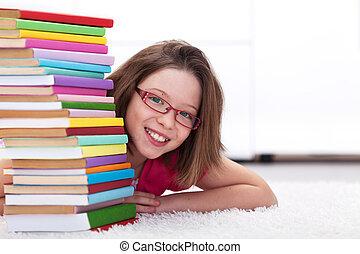 lotes, sonriente, libros, joven, estudiante
