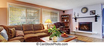 lotes, vida, colors., habitación, modernizado