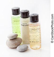 lotion, bouteilles, ensemble, spa