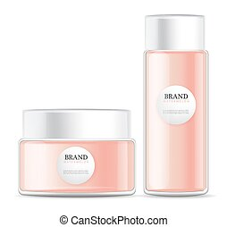 lotion cream isolated pink bottles Vector realistic mock up....