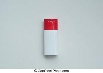 lotion, schoonheidsmiddel, makeup, shampoo, achtergrond, concept., fles, mode, schuim, witte , room, isoleren, bad, natuurlijke , plastic, schoonheid product, minimaal