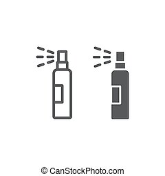 Lotion spray line and glyph icon, hairdressing and sprayer, bottle spray sign, vector graphics, a linear pattern on a white background.