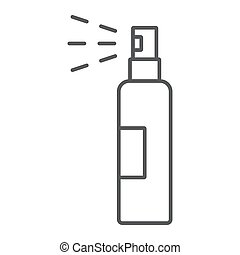 Lotion spray thin line icon, hairdressing and sprayer, bottle spray sign, vector graphics, a linear pattern on a white background.