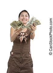 lotissements, argent, femme, joli, heureux